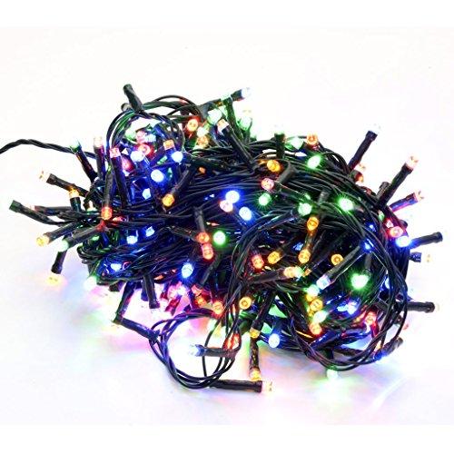 takestop® 400 LED LUCI Multicolor Colorate Colore Filo Verde Albero di Natale Catena Luminosa Controller 8 FUNZIONI MINILUCCIOLE LAMPADINE
