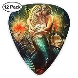 Mermaid Love Man Kiss Ultra Light 0.46 Medium 0.73 Heavy 0.96mm Impreso Redondo Plano Suave Plástico Jazz Eléctrico Bajo Acústico Púa Accesorios