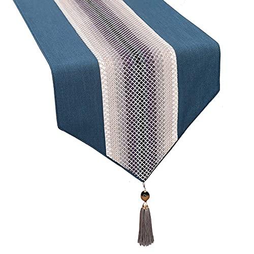 Bordslöpare Bomullslinje tofs lång bordsduk för familjen middagar, tvättbar byrå halsduk för långbord, platser 4-6 personer (färg: blå, storlek: 33 × 260 cm)