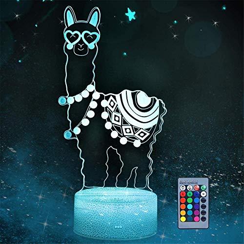 Lámpara Love Heart Alpaca Llama 3D Ilusión Lámpara Stepless Atenuación Brillo para Niños, Dormitorio de Niños, Vivero, Cocina, Pasillo y Escaleras