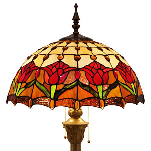 Tiffany Style Floor Standing Lamp W16H64 Inch Tall Stained Glass Tulip Flower Design Shade 2E26 Antique Reading Lighting Resin Base S030 WERFACTORY Lamps Bedroom Living Room Bedside Table Lover Gifts