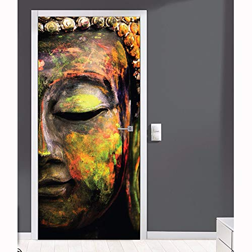 3D Puerta Murales Buda creativo 95x215cm Puertas Papel Pintado Puertas Autoadhesivo Impermeable Papel Pintado Puerta Mural Puertas extraíble Vinilo Papel Pintado Arte Decoración del hogar