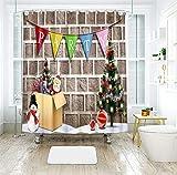 AJ WALLPAPER 3D Navidad colorido banderín 015 cortina de ducha resistente al agua fibra baño ventanas inodoro Reino Unido Zoe (tamaño personalizado (mensaje eBay us))