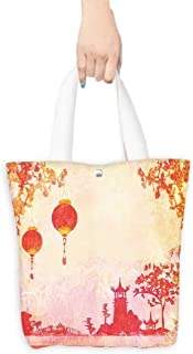 Canvas Tote Bag old paper with Asian Landscape (W15.75 x L17.71 Inch)