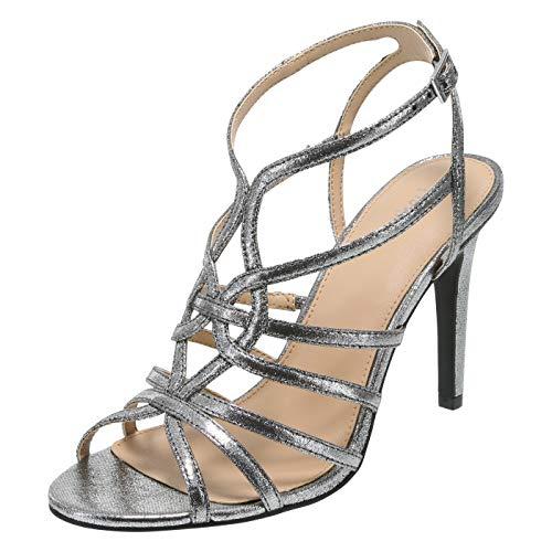 Fioni Silver Fabric Women's Lia Strappy Heel 9 Regular