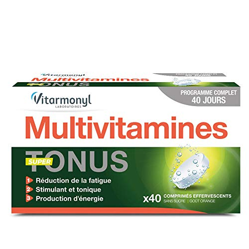 Vitarmonyl - Multivitamines super tonus - Réduction de la fatigue & stimulant énergie - 40 comprimés effervescents - Fabriqué en France