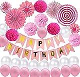 Decoración de cumpleaños, decoración de fiestas, globos rosas, decoración de cumpleaños, guirnalda de Happy Birthday, pompones de papel de seda, abanicos de papel, fiesta de cumpleaños, baby shower