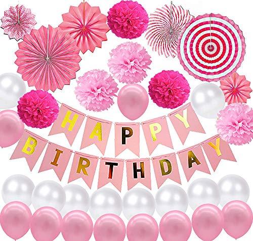 Geburtstagsdeko Geburtstag Dekoration Partydekoration, Rosa Luftballons Geburtstag Deko Happy Birthday Girland Banner Seidenpapier Pompoms Papierfächer Kindergeburtstag Babyparty Baby Shower Dusche