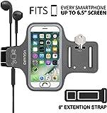 VGUARD Fascia da Braccio Sportiva Universale 6.5' Resistente Sweatproof Fascia per Corsa&Esercizi con Cinturino Fascia da Braccio per Smartphone, Huawei P20, iPhone 11 Pro/11/X/XR, Samsung S9(Grigio)