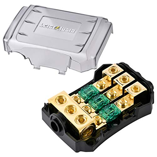 LEIGESAUDIO Copper 0/4 Gauge to 4/8 Gauge 60 Amp Mini ANL 3 Way Fuse Holder Distribution Block