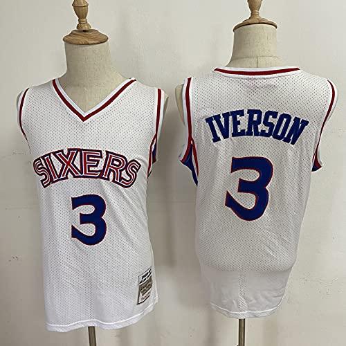 CYYX NBA Basketball Jersey 76ers 3# Allen Iverson Jersey, Tejido Fresco Transpirable, Fan de Baloncesto Unisex sin Mangas Deportivo Chaleco Superior,B,XL