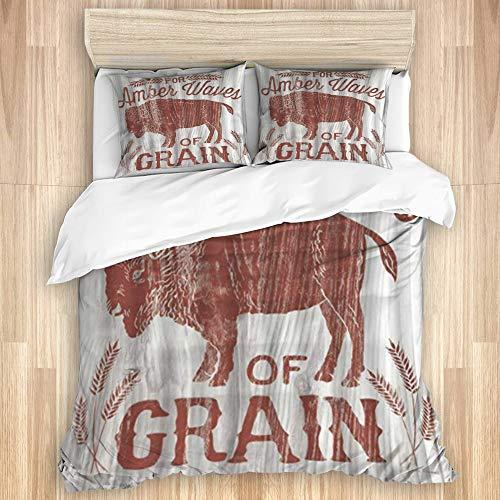 MJIAX La Funda nórdica Establece Las sábanas,Textura de Orejas de Trigo de Vaca de Hi, Juego de Cama de 3 Piezas con 2 Fundas de Almohada, tamaño único 140x200cm (55x78 Pulgada)