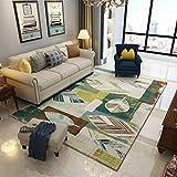 NF Alfombra rectangular con estampado geométrico 3D nórdico, alfombra de salón, alfombra grande, alfombra para el pasillo, dormitorio, mesita de noche, antideslizante, 160 x 200 cm