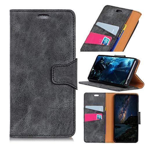 SZHTSWU Hülle für Alcatel U5 HD 5047U (5 Zoll), Retro Muster PU Leder Tasche Brieftasche Flip Wallet Case Schutzhülle mit Kartenfächern, Grau