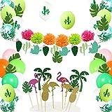 Decoración Tropical hawaiana, Hawaiana Fiesta Tropical Globos Decoración,Cactus para la Fiesta de Verano de la Playa de la Selva Hawaiana de Luau.