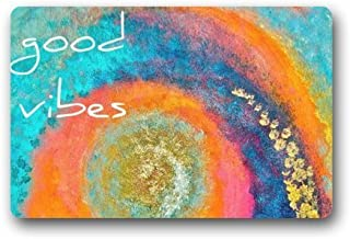 SPXUBZ Colorful Tie Dye Trippy Art with Funny Saying Good Vibe Non Slip Entrance Rug Outdoor/Indoor Durable and Waterproof Machine Washable Door Mat Size:23.6x15.7 inch
