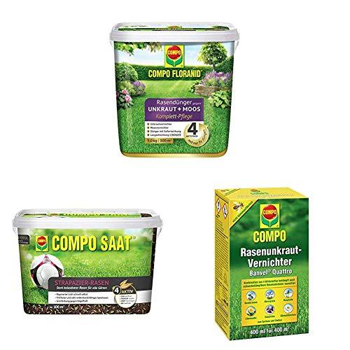 Compo Floranid Rasendünger gegen Unkraut+ Moos Komplett-Pflege + Saat Strapazier-Rasen + Rasenunkraut-Vernichter Banvel Quattro (Nachfolger Banvel M)