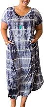 Womens Plus Size Long Dresses V Neck Short Sleeve Tie Dye Split T Shirt Casual Summer Maxi Dress with Pockets