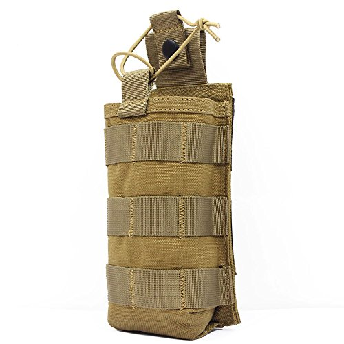 ROCOTACTICAL Tactical Radio Pouch - 1000D Nylon Tactical Molle Two Way Radios Holder Case for Walkie Talkies (TAN)