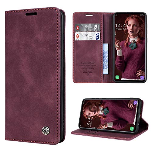 RuiPower Handyhülle für Samsung Galaxy A71 Hülle Premium Leder PU Flip Hülle Magnetisch Klapphülle Wallet Lederhülle Silikon Bumper Schutzhülle für Samsung Galaxy A71 4G Hülle - Wein Rot