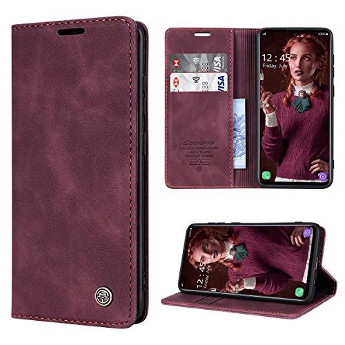 RuiPower Handyhülle für Samsung Galaxy A71 Hülle Premium Leder PU Flip Hülle Wallet Lederhülle Klapphülle Magnetisch Silikon Bumper Schutzhülle für Samsung Galaxy A71 Tasche - Wein Rot