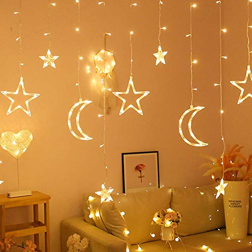 LED Fairy Lights,LED Star Moon Fairy Garland Lamp Window Curtain String Lights for Christmas Romantic Weddings Home Bedroom Party Decorations Lighting Warm Light(Battery Model)