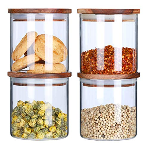 KKC Borosilicate Glass Storage Jars with Wooden Lids,Glass Food Storage Jars Airtight Lids,Kitchen Storage Glass Canister Container with Wood Lid for Sugar,Salt,18 FLoz,Pack of 4