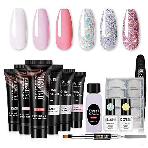 ROSALIND Poly Nail Gel Para Uñas Kit, 6 Color Brillo Pink Desnudo Extensión de uñas Poly para Pintauñas Esmalte, con Capa superior y Capa base, 120 Piezas Uña Falsa