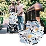 HelloCreate, copertura elastica per seggiolino auto per bambini, copertura per allattamento al seno, per seggiolino auto, motivo: dinosauro