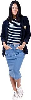 Wash Clothing Company Women's Denim Midi Skirt Palewash Blue Mid Length Skirt CYNTHIAPW Knee Length Plus Size UK 8-22