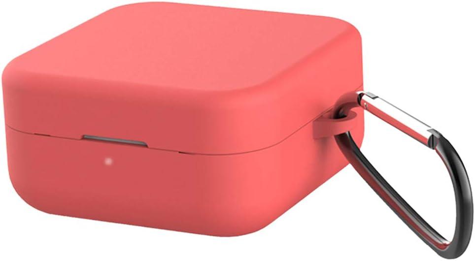 Blesiya Auriculares Funda Protectora De Silicona para Xiaomi Air2 Se Earpod Charing Case Accesorio - Rojo + Hebilla