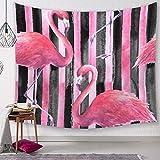 DUQQ Tapiz Tapices de Pared Rayas Negras Flamenco Indio Nórdico Estampado Animal Tela de Decorativa Tela Colgante para Sala de Estar Dormitorio 150 × 130 cm-200 × 150 cm