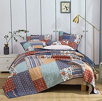 DaDa Bedding Cotton Bohemian Vibes Patchwork Bedspread Quilt - Rustic Mediterranean Floral Quilted Set - Bright Vibrant Multi-Colorful - Deep Blue & Brick Red - Queen - 3-Pieces