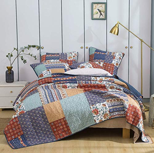 DaDa Bedding Cotton Bohemian Vibes Patchwork Bedspread Quilt - Rustic Mediterranean Floral Quilted Set - Bright Vibrant Multi-Colorful - Deep Blue & Brick Red - Cal King - 3-Pieces