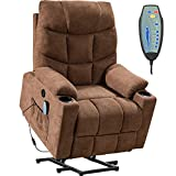 Lift Chair for Elderly Massage Chair Power Electric Recliner Wall Hugger Recliner Chair Living Room Chair with Remote Control (Brown)