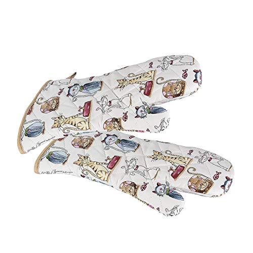 Backhandschuhe Hitzebestaendig, Topfhandschuhe Ofenhandschuhe Lang mit niedliches Katze Motiv, Geschenk für Frauen und Damen