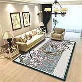 CCTYJ Pink melocotón Gris Oriental Estilo étnico Simple patrón Antideslizante Dormitorio Interior Sala de Estar sofá Decorativo alfombra-50x80cm Calidad Precio relación demás Limpiar sa
