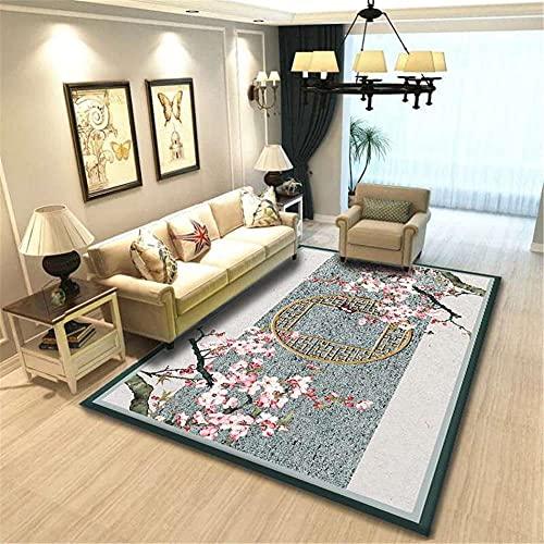 CCTYJ Pink melocotón Gris Oriental Estilo étnico Simple patrón Antideslizante Dormitorio Interior Sala de Estar sofá Decorativo alfombra-160x230cm fácil de Limpiar Igual Que la Foto Pelo Corto relaci