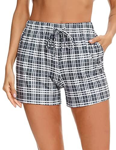Doaraha Pantalón Corto para Mujer Pantalones Cortos de Pijama Casual Suave Ropa de Dormir Comodo y Suelto Pantalon de Casa Chándal Pant (Azul Oscuro, M)