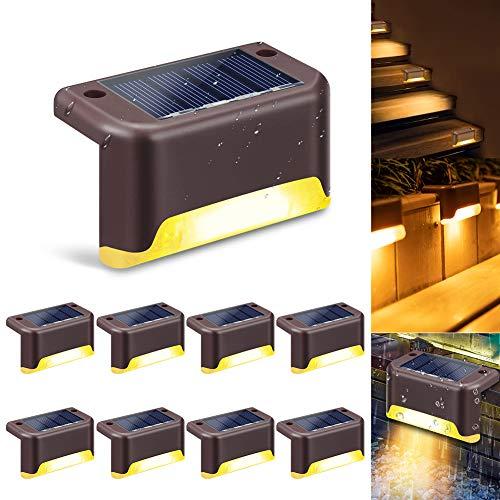Luce Scale Solare Accensione/Spegnimento Automatico 8 Pezzi Luci Segnapasso Impermeabili Lampada a Energia Solare per Scale, Sentiero, Recinzione,Terrazzino, Giardino