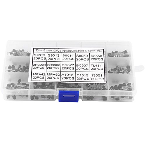 300 Pcs 15 Values NPN PNP TO-92 Silicon Transistors Assortment Set With Clear Plastic Box