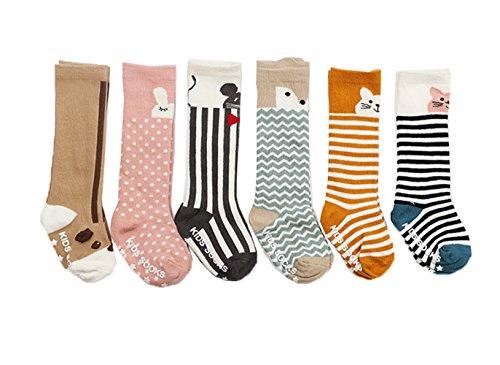 JT-Amigo Pack de 6 Pares Calcetines Largos para Bebé Niños Niñas, 2-4 años