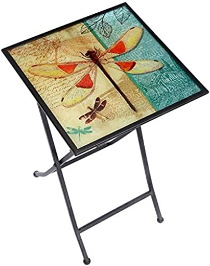 B07N83HX6T✅CEDAR HOME Side Table Outdoor Garden Patio Metal Accent Desk with Square Hand Painted Glass, Dragonfly