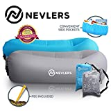 Nevlers Inflatable Lounger with Side Pockets and Matching Travel Bag - 2 Pack - Blue & Gray - Waterproof and Portable - Great and Easy to Take to The Beach, Park, Pool, and as Camping Accessories