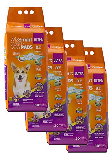 WizSmart All Day Dry Premium Dog and Puppy Training Pads, Made with Recycled Unused Baby Diapers and Eco Friendly Materials, 8 Cup Ultra 120 Count