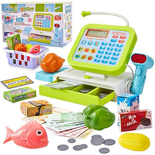 HERSITY Kids Toy Till Cash Register with Light and Sound Scanner Pretend...