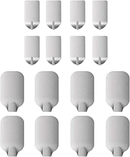 Adhesive Hooks 16-Pcs Heavy Duty Wall Hooks Nail Free Ultra Strong Stainless Steel Waterproof Hangers for Kitchen Bathroom...