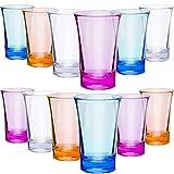 12 Stück Schnapsgläser aus Acryl, bunte Schnapsgläser mit 34 ml schwerem Boden, Schnapsgläser für Spirituosen und Likör, kompatibel mit 6 Schnapsglas-Spender und Halter (blau, lila, gelb, transparent)