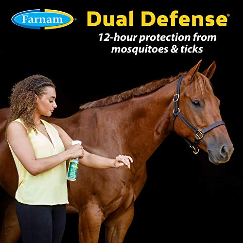 Farnam Dual Defense Insect Repellent for Horse and Rider, Fly Control, 12 Hour Long Lasting Protection, 10 Ounce Non-Aerosol Spray Bottle