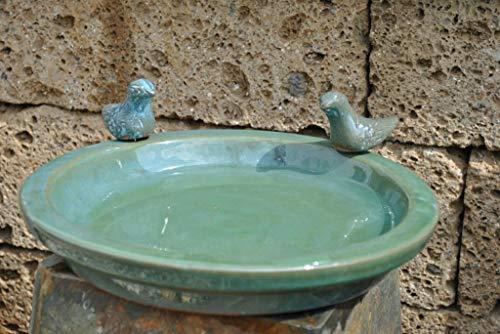 Kunert-Keramik Vogeltränke mit Zwei kleinen Vögelchen,rund,moosgrün glasiert,30cm